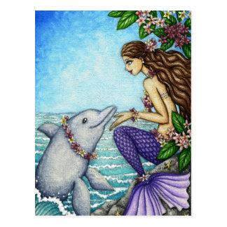 Meerjungfrau-und Delphin-Freund Postkarte