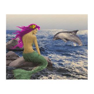 Meerjungfrau und Delphin Holzwanddeko