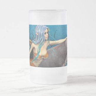 Meerjungfrau und Delphin Mattglas Bierglas