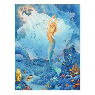 Meerjungfrau und Delphine durch Schotten Howden Postkarte