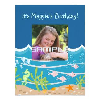 Meerjungfrau- und Delphingeburtstags-Party Karte