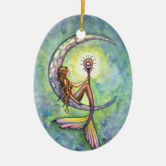 Meerjungfrau und die Mond-Fantasie-Kunst Keramik Ornament