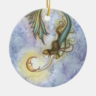 Meerjungfrau-und Mond-Verzierung Keramik Ornament