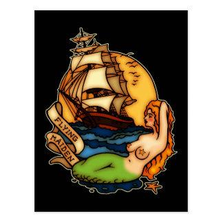 Meerjungfrau-und Piraten-Schiff Postkarte