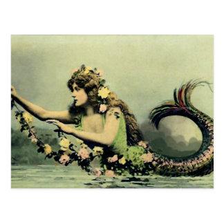 Meerjungfrau und Rosen Postkarte
