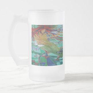 Meerjungfrau und Schmetterlinge Mattglas Bierglas