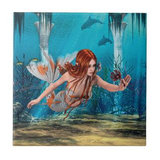 Meerjungfrau und Seelilie Keramikfliese