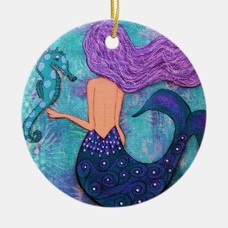 Meerjungfrau-und Seepferd-Verzierung Keramik Ornament