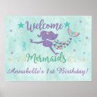 Meerjungfrau unter dem Seegeburtstags-Party-Plakat Poster