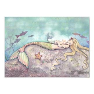 Meerjungfrau-Wiegenlied-Babyparty-Einladungen 12,7 X 17,8 Cm Einladungskarte