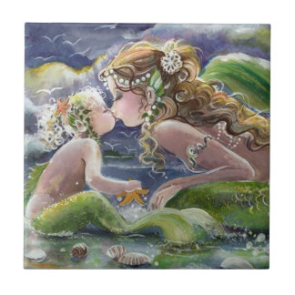 Meerjungfraumamma und Kindfliese Fliese