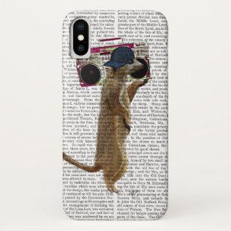 Meerkat mit Ghettoblaster-Getto-Bläser 2 iPhone X Hülle
