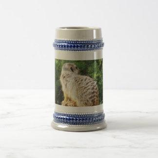 Meerkat mit hohen Ansichten, Bierglas