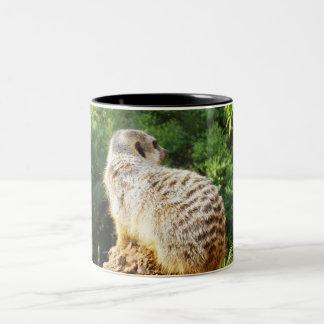 Meerkat mit hohen Ansichten, Zweifarbige Tasse