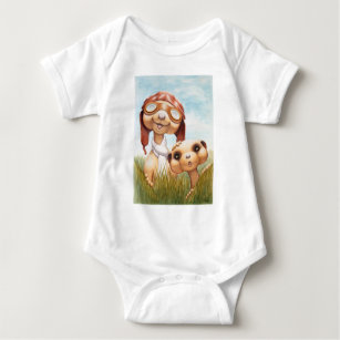 Meerkats mit Luftfahrt-Kleid Onsie Baby Strampler