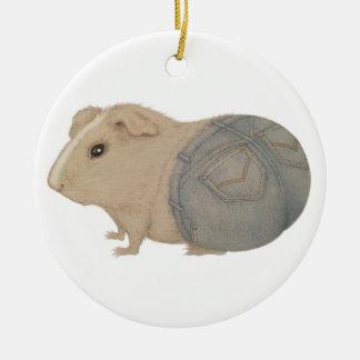 Meerschweinchen in den Jeans Rundes Keramik Ornament