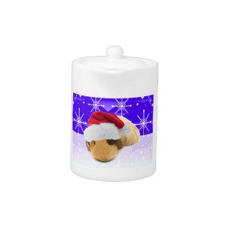 Meerschweinchen in der Weihnachtsmannmütze mit