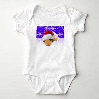 Meerschweinchen in der Weihnachtsmannmütze mit Baby Strampler