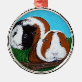 Meerschweinchen Rundes Silberfarbenes Ornament