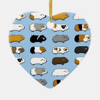 Meerschweinchen viele blau keramik Herz-Ornament