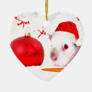 Meerschweinchen-Weihnachten Keramik Herz-Ornament