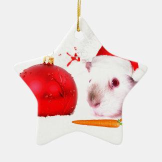 Meerschweinchen-Weihnachten Keramik Stern-Ornament