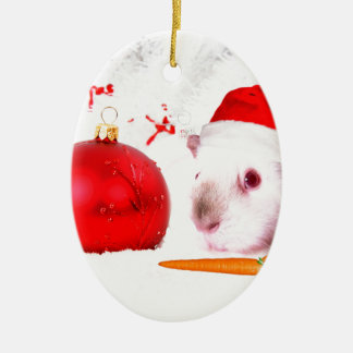 Meerschweinchen-Weihnachten Ovales Keramik Ornament