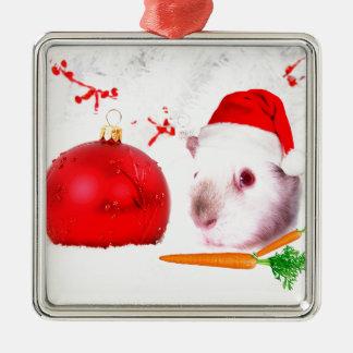 Meerschweinchen-Weihnachten Quadratisches Silberfarbenes Ornament