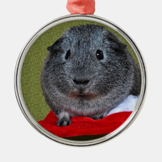 Meerschweinchen-Weihnachten Rundes Silberfarbenes Ornament