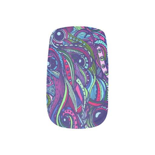 Megadoodle- blaue/purpurrote Minx-Nägel Nagelaufkleber