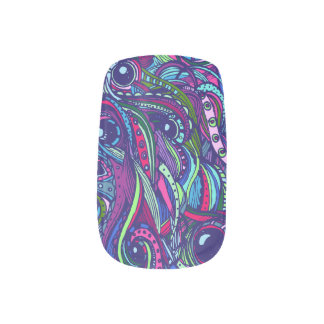 Megadoodle- blaue/purpurrote Minx-Nägel Nagelkunst