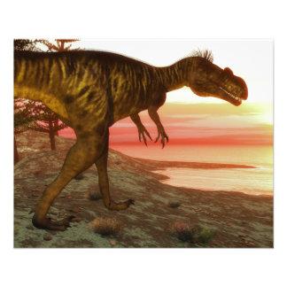 Megalosaurusdinosaurier, der in Richtung zum Ozean 11,4 X 14,2 Cm Flyer