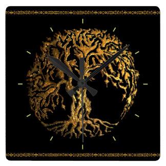 Mehndi Baum des Lebens (Gold) Quadratische Wanduhr