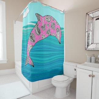 mehndi Delphin im abstrakten blauen Duschvorhang