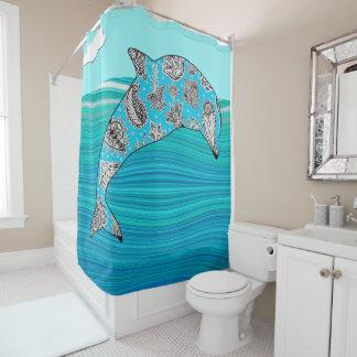 mehndi Delphin in den abstrakten blauen Duschvorhang