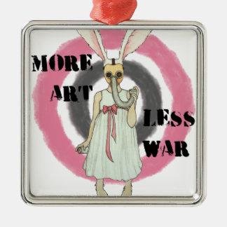 Mehr Kunst weniger Krieg Quadratisches Silberfarbenes Ornament