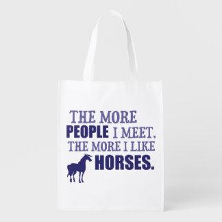 Mehr mag ich Pferde Wiederverwendbare Einkaufstasche