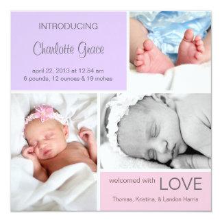 Mehrfache Foto-Geburt Announcement//Pink lila Quadratische 13,3 Cm Einladungskarte