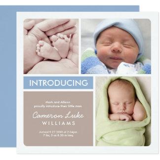 Mehrfache Foto-Geburts-Mitteilung | blau u. Taupe Quadratische 13,3 Cm Einladungskarte
