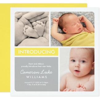 Mehrfache Foto-Geburts-Mitteilung | gelb u. Grau Quadratische 13,3 Cm Einladungskarte