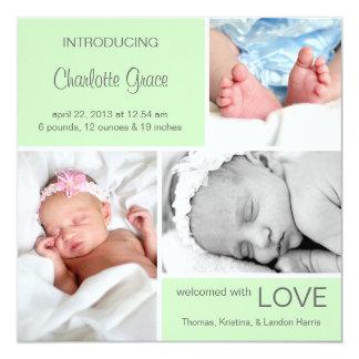 Mehrfache Foto-Geburts-Mitteilung//hellgrün Quadratische 13,3 Cm Einladungskarte