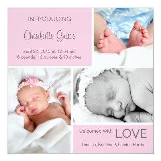 Mehrfache Foto-Geburts-Mitteilung//hellrosa Quadratische 13,3 Cm Einladungskarte