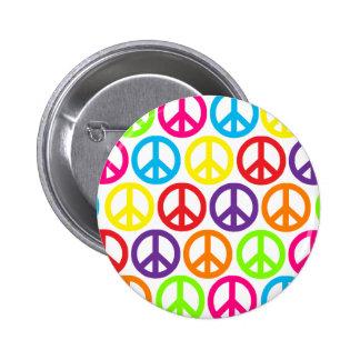 Mehrfache Mehrfarbenfriedenszeichen Runder Button 5,1 Cm