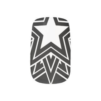 Mehrfacher schwarzer Stern Minx Nagelkunst