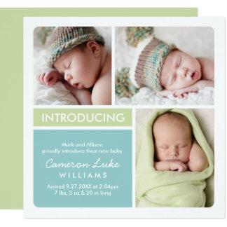Mehrfaches Aqua der Foto-Geburts-Mitteilungs-|, Quadratische 13,3 Cm Einladungskarte