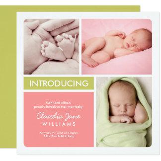 Mehrfaches rosa Grün der Quadratische 13,3 Cm Einladungskarte