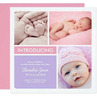 Mehrfaches rosa Lila der Quadratische 13,3 Cm Einladungskarte