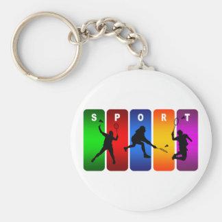 Mehrfarbenbadminton-Emblem Schlüsselanhänger
