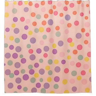 Mehrfarbenconfettipunkte auf Lachsrosa Duschvorhang