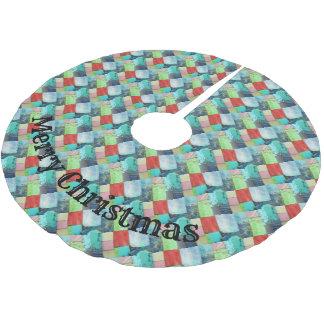 Mehrfarbenedelstein-Mosaik-Blick-Baum-Rock-Türkis Polyester Weihnachtsbaumdecke